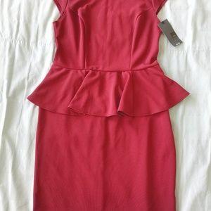 Cranberry Peplum Dress